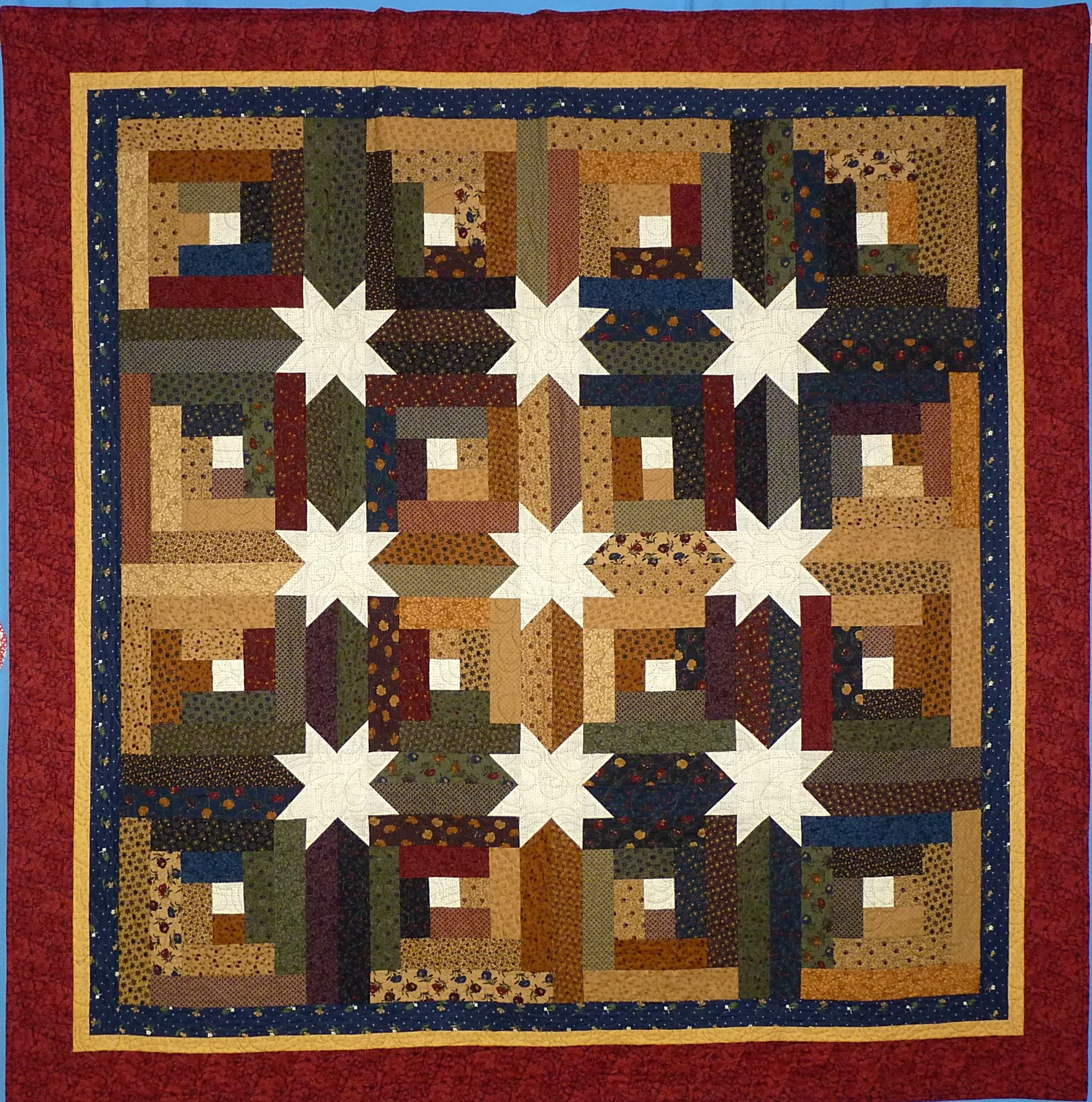 Amazing photo of Pieced Small 2nd: Log Cabin Stars by Donna Kittleson with #1E71AD color and 1768x1783 pixels