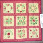 Spring Flowers: Stenciled flowers; hand quilted