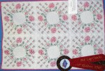2007 Show: Antique rose Casket Quilt. Having made a queen sized quilt like these squares I decided to do a smaller version with only 6 quilted/embroidered blocks.  This pink roses quilt will be used on my casket.