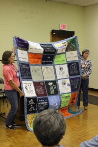 Tee shirt quilt sewn by guild members and quilted by Betty Ann Tyree