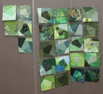 Green crazy quilt blocks turned in by members