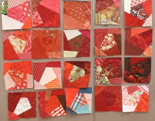 Red Crazy Quilt blocks