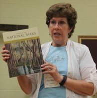 "Ann Weaver - Displaying the book ""Inspired by the National Parks: Their Landscapes and Wildlife in Fabric Perspectives"" by Donna Marcinkowski DeSoto. Ann's quilt is on page 148."