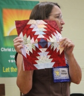 Kathy Wickham explaining how the Pineapple blocks will look.