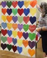 Multi-colored Hearts quilt for victims of The Pulse nightclub shooting.