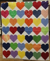 Another multi-colored Hearts quilt for victims of The Pulse nightclub shooting.