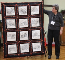 Ann Ware - Covered Bridges quilt. The bridges are hand embroidered.