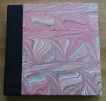 Kristin Farwig – Hand marbled fabric covered sketchbook – made at John C. Campbell FolkSchool