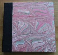 Kristin Farwig - Hand marbled fabric covered sketchbook - made at John C. Campbell Folk School